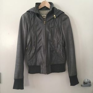 Mike & Chris Convertible Leather Hoodie Jacket
